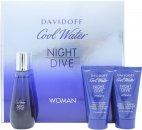Davidoff Cool Water Night Dive Woman Gift Set 50ml EDT + 50ml Body Lotion + 50ml Duschgel