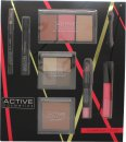 Active Cosmetics Glamour To Go Presentset Eye Liner Pencil + 6.5ml Mascara + 4 x 2.5g Ögonskuggor + 10g Bronzer + 2 x 6g Blusher + 6g Highlighter + 10.5ml Läppglans + 3.3g Läppkrita + Applikator