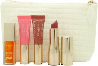 Clarins My Sparkling Lips Collection Gift Set 2 x 5ml instant Light Lip Perfector + 7ml Instant Light Lip Comfort Oil + 3.5g Joli Rouge Lipstick + Bag
